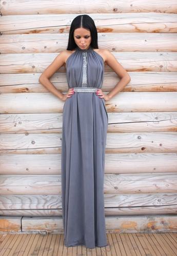 Платье цвета графит с металическими вставками