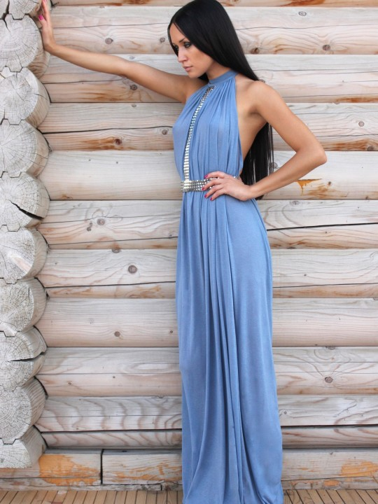 Платье в пол с металическим поясом