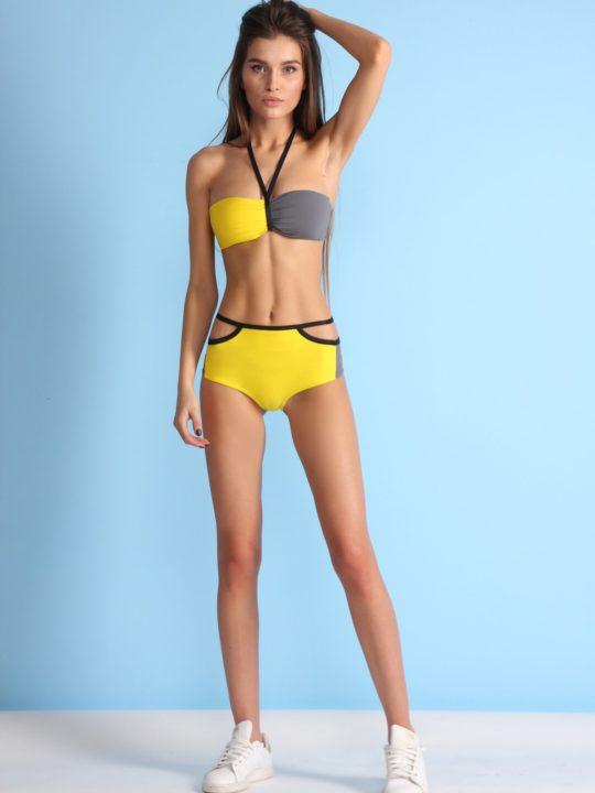 Яркий раздельный купальник желтый бандо и плавки на высокой талии loves купить Киев
