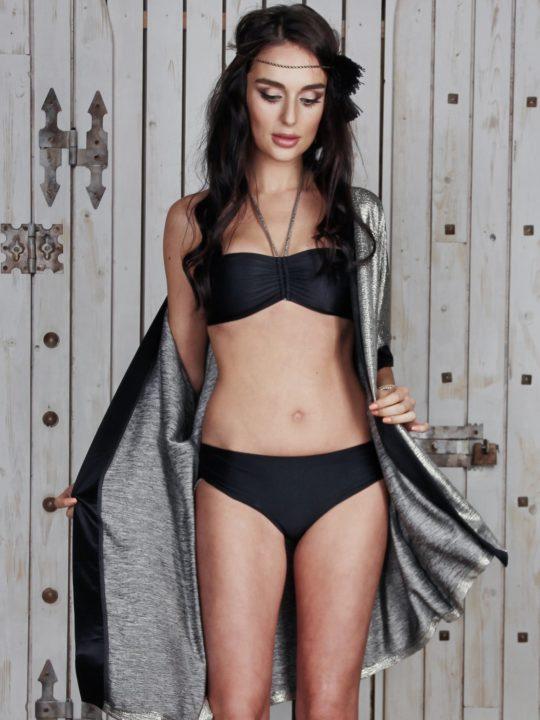 Модный раздельный купальник черный бандо и плавки бразилиана Лавс украинский бренд
