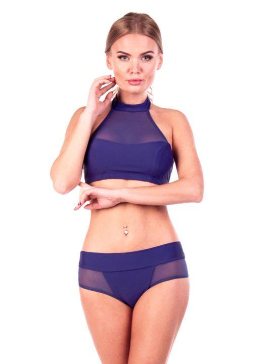 Стильный купальник для спорта синего цвета с сеткой Лавз Киев