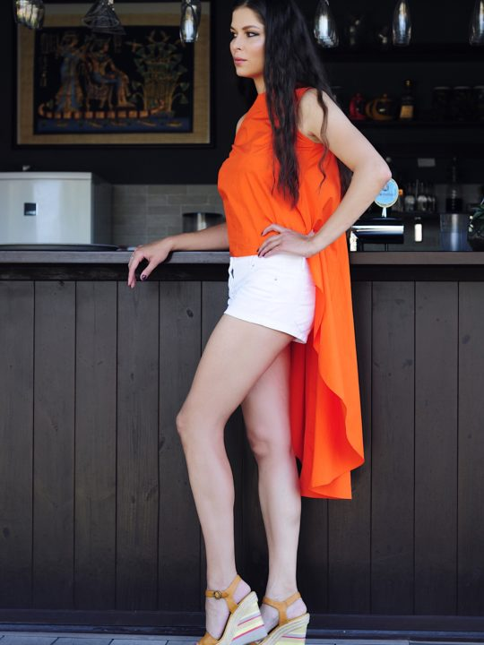 ассиметричная туника оранжевого цвета made in ukraine