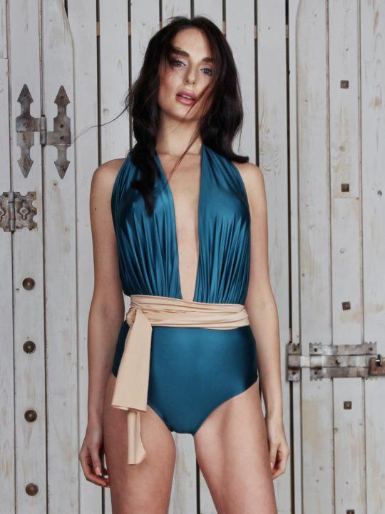 Купальник модный зеленый сдельный lovesswimwear купальники 2018