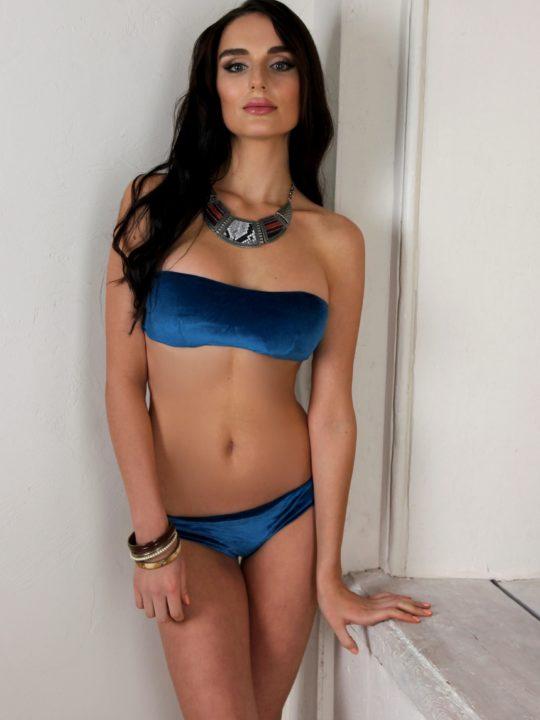 Купальник бандо голубой бархатный Love`s украинский дизайнер