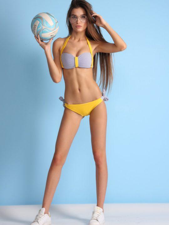Яркий раздельный купальник желтый в полоску лиф бандо плавки на завязках loves купить Киев