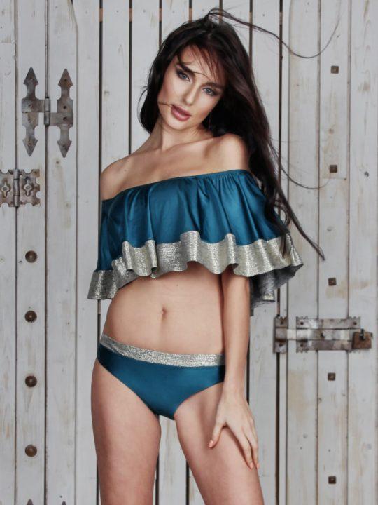 Модный купальник раздельный зеленый с большим рюшем и плавки слипы Love`s купить Украина